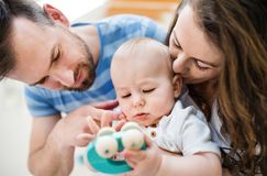 Young family and a baby boy with a toy at home. Close up. royalty free stock photo
