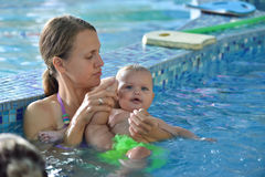 Young family with baby having fun in the swimming Stock Photography