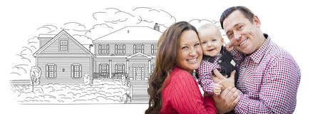 Young Family With Baby Over House Drawing on White Royalty Free Stock Photography