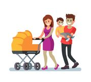 Young family and baby walking outdoor. Vector illustration Stock Photos