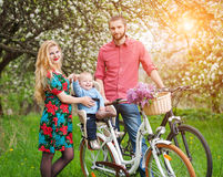 Young family on a bicycles in the spring garden. Beautiful family on a bicycles in the spring garden. Mother holding her bike and baby sitting in bicycle chair Stock Photos