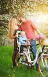Young family on a bicycles in the spring garden. Happy baby sitting in bicycle chair against kissing parents on the background of blooming trees, dandelions and Royalty Free Stock Images