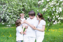 Young family in a blooming apple tree garden Stock Images