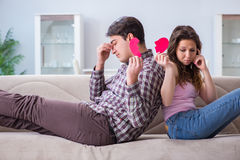 The young family in broken relationship concept. Young family in broken relationship concept stock photo