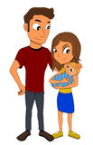 Young family cartoon Stock Photos