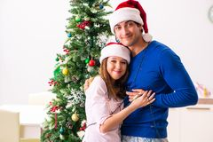 The young family celebrating christmas at home royalty free stock photo