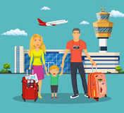 Young family with children in front of the airport Stock Image