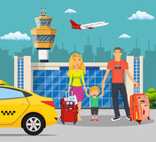Young family with children in front of the airport Royalty Free Stock Images