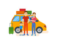 Young family with children go on a trip by car. Royalty Free Stock Photography