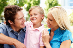 Young Family in City Park Royalty Free Stock Photography