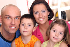 Young family - close up. Young family with two children Royalty Free Stock Image