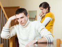 Young family conflict. Young wife having conflict with husband Royalty Free Stock Photos