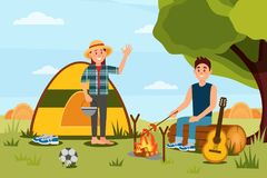 Young couple in camping. Woman waving hand, man cooking sausages on campfire. Nature landscape. Flat vector design. Young family couple in camping. Woman holding vector illustration