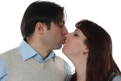 Young family couple kissing Royalty Free Stock Images