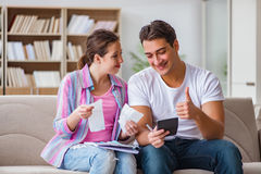 The young family discussing family finances Royalty Free Stock Photo