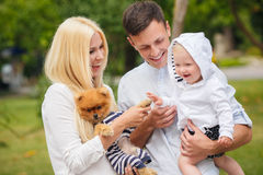 A young family and a dog walking in a city park. Stock Image