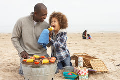 Young Family Enjoying Barbeque On Beach Royalty Free Stock Image