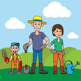 A young family, father, mother and child are working in the garden. Vector illustration Stock Photos