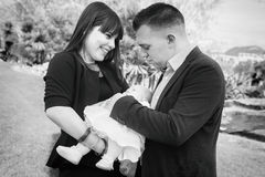 Young family with first baby Stock Images