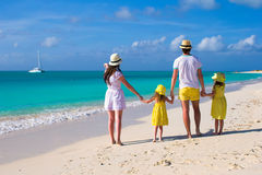 Young family of four on caribbean vacation Royalty Free Stock Photography