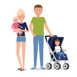 A young family of four. Vector illustration. Painted in shape stock illustration