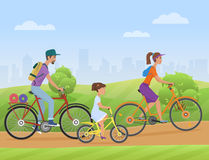 Young family with girl kid riding a bikes on the park road. Famlly cyclists bicycle Vector illustration. royalty free illustration