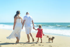 Young family with girl in red dress and dog on the beach Stock Photo