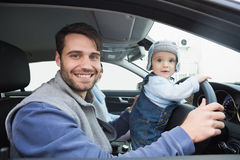 Young family going for a drive Stock Images