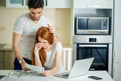 Family having debt problems, not able to pay out their loan royalty free stock photo