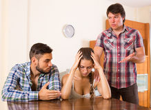 Young family having about domestic  quarrel Stock Image