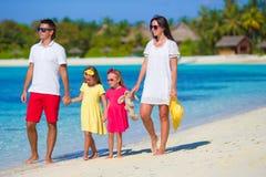 Young family having fun on beach Royalty Free Stock Photos