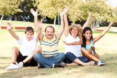 Young family having fun in park Royalty Free Stock Photos