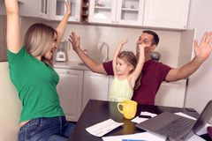 Family having fun together at home stock photo