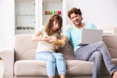 The young family helping each other after injury stock images