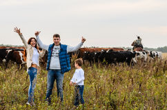Young family and a herd of cows Stock Photography