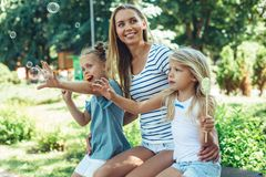 Young family on holidays together stock photos
