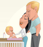 Young family. Illustration of a Father and mother with their son Royalty Free Stock Photos
