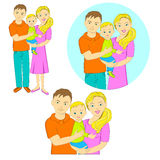 Young family. image of father, mother and child. In three versions, illustration, vector vector illustration