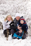 Young Family In Winter Royalty Free Stock Images
