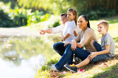 Young family lake Royalty Free Stock Photography