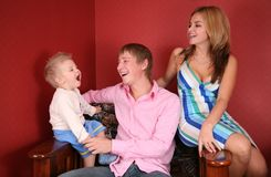 Young family laughing Stock Photos