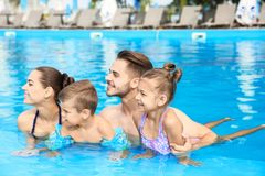 Young family with little children in swimming pool. On sunny day stock photo