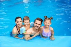 Young family with little children in swimming pool. On sunny day stock images