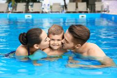 Young family with little son in swimming pool. On sunny day stock photography