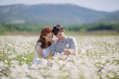 Young family on meadow Stock Images