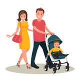 Young family. Mom and dad are walking with their kid. Mom and dad walk with their child. Parents with child. Young family. Vector illustration in flat style Royalty Free Stock Photo