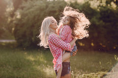 Young family mother and daughter Stock Photo