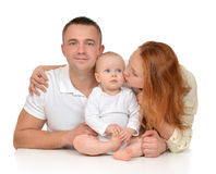 Young family mother and father with newborn child baby girl royalty free stock photo