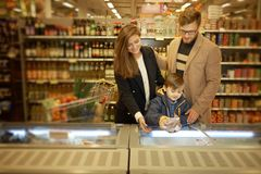 Young family near freezer Stock Photography