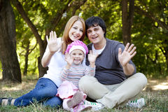 Young family at outdoor. Royalty Free Stock Images